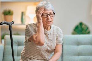 Elderly woman who is upset or unwell